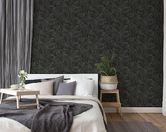 Marble wallpaper black gold | Designer wallpaper | modern natural wallpaper | Bedroom, kitchen, hallway, office and living room wallpaper | 10.05mx0.53m