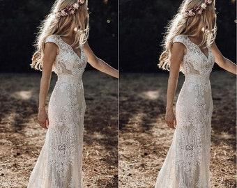 Simple wedding dress, Boho wedding dress, Rustic wedding gown, Ivory Lace Vintage Wedding Dress, Bohemian Bridal Gown, Vintage Bridal Gown