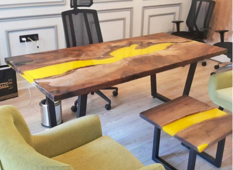 Yellow Conference Table, Office Desk Made with Epoxy Resin