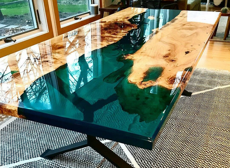 Office Desk Conference Table Made with Walnut wood and Epoxy