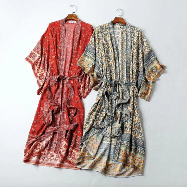 Beautiful cotton mix material in 2 colours Vintage boho style. Women/'s Kimono dressing robegown