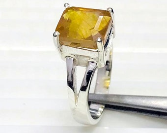 9ct Yellow Sapphire,Pukhraj Gemstone Astrological  Adjustable Ring in Panchdhatu Metal,925 Silver Custom Made Birthstone Rings 5ct