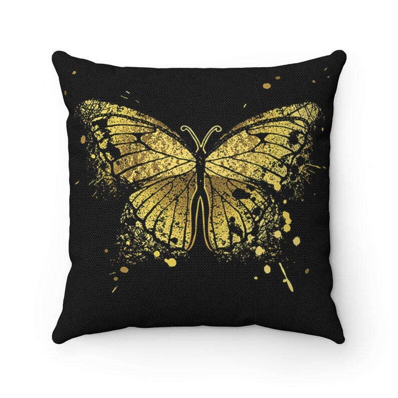 Butterfly Graphic Throw Pillow  Spun Polyester Square Pillow image 0
