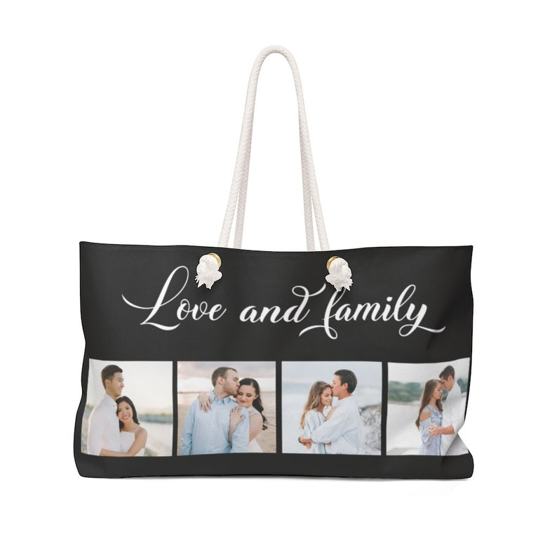 Personalized Weekender Bag  custom tote bag  family collage image 0