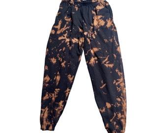 Black bleach dye jogging pants/jogger pants