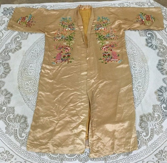 19th Century Antique Chinese Robe Hand Embroidery