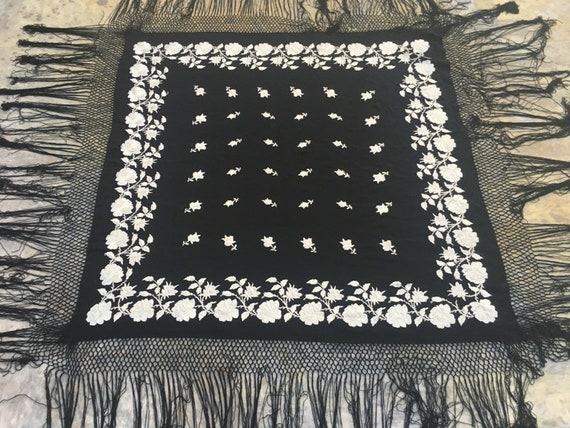 Antique Manila Shawl Hand Embroidery Shawl Woman S