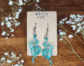 Blue Snake Earrings with Chunky Glitter | handmade with resin