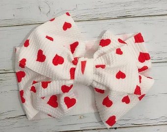 girls bow Valentine/'s bow newborn bow infant bow toddler bow white red big bow heart bow