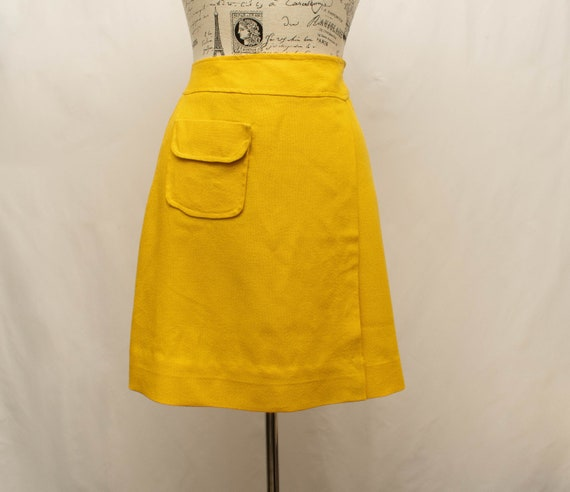 Vintage 1970s Wrap Skirt | Yellow Wrap Skirt | Lin