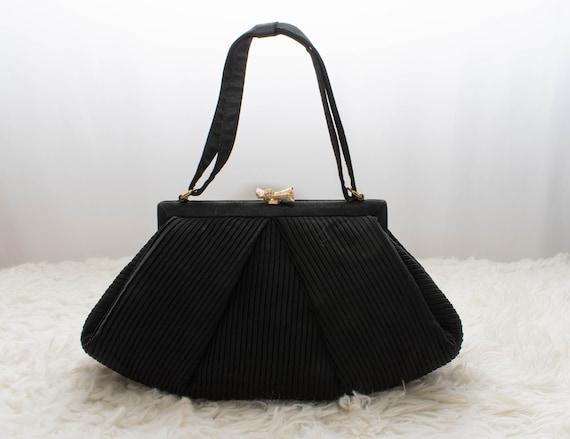 Vintage 1950s Little Black Purse | By Inberg | Bla