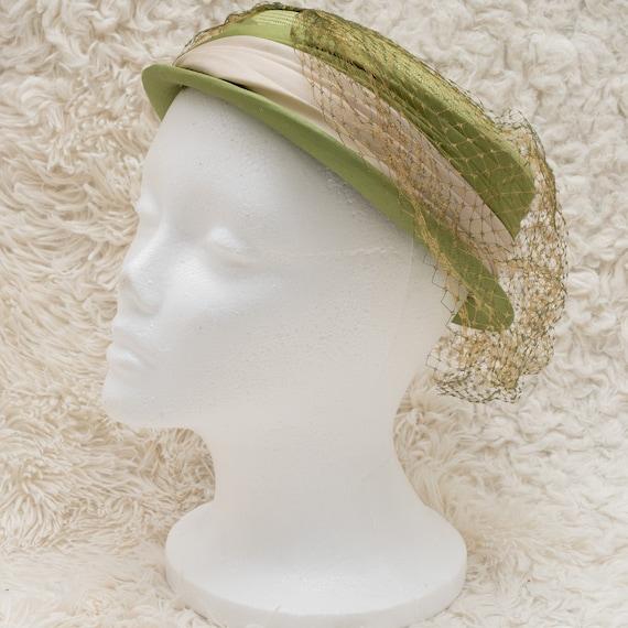 Vintage Green Straw Hat | 1960s Green Boater Hat |