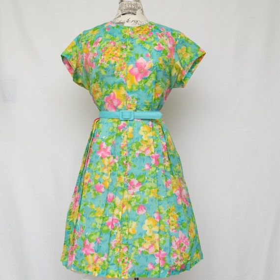 1950s Tropical Flower Dress | Short Sleeve Cotton