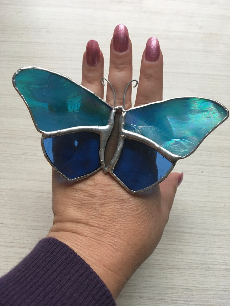 Stained Glass Butterfly Plant Decor