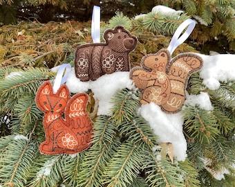 Holiday Ornaments Hand-Painted Wildlife Ornaments Fox Rabbit Flower decor