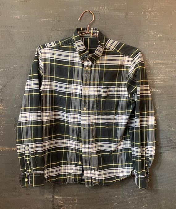 VINTAGE PLAID shirt/Oversized Plaid Shirt/Mens Sma