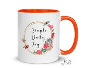 Simple Daily Joy | Butterflies & Tulips | Mug with Color Inside