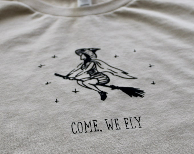 Halloween Screen Printed Sand Color Shirt Handmade Short Sleeve Printed T-Shirt Witch Highest Quality Fall Shirt
