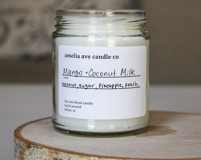Mango + Coconut Milk Soy Candle, Wooden Wick Candle, Cotton Wick Candle, Premium Scented Candles, Clean Non Toxic