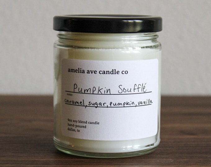 Pumpkin Soufflé Soy Candle, Wooden Wick Candle, Cotton Wick Candle, Premium Scented Candles, Clean Non Toxic