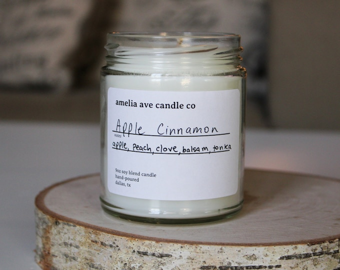 Apple Cinnamon Soy Candle, Wooden Wick Candle, Cotton Wick Candle, Premium Scented Candles, Clean Non Toxic