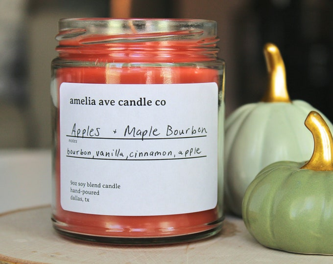 Apples + Maple Bourbon Soy Candle, Wooden Wick Candle, Cotton Wick Candle, Premium Scented Candles, Clean Non Toxic