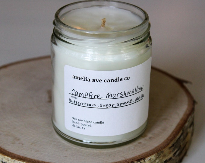 Campfire Marshmallow Soy Candle, Wooden Wick Candle, Cotton Wick Candle, Premium Scented Candles, Clean Non Toxic