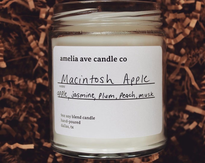 Macintosh Apple Soy Candle, Wooden Wick Candle, Cotton Wick Candle, Premium Scented Candles, Clean Non Toxic
