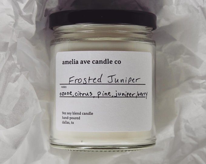Frosted Juniper Soy Candle, Wooden Wick Candle, Cotton Wick Candle, Premium Scented Candles, Clean Non Toxic