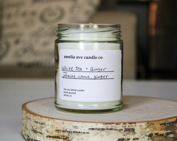 White Tea Ginger Soy Candle, Wooden Wick Candle, Cotton Wick Candle, Premium Scented Candles, Clean Non Toxic