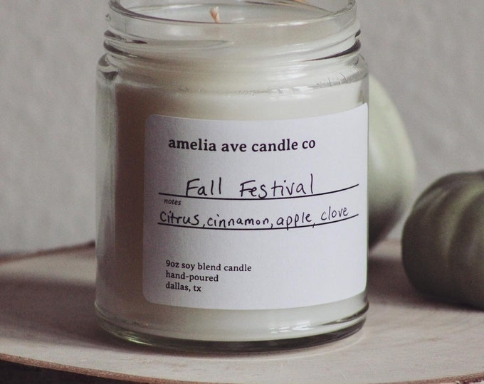 Fall Festival Soy Candle, Wooden Wick Candle, Cotton Wick Candle, Premium Scented Candles, Clean Non Toxic