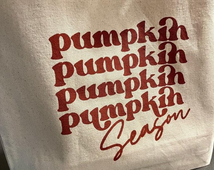 11L Canvas Tote, Pumpkin Tote, Screen Printed by Hand, Handmade Natural Canvas Tote Bag, Halloween Tote, Fall Tote, Halloween Bag