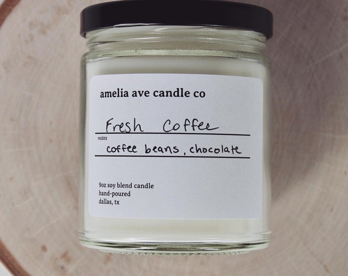 Fresh Coffee Soy Candle, Wooden Wick Candle, Cotton Wick Candle, Premium Scented Candles, Clean Non Toxic
