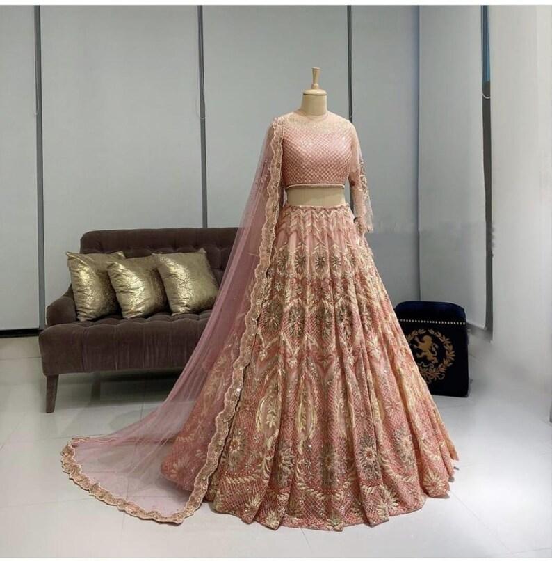 Sangeet Lehenga Choli Heavy banglori satin Designer Pink Lehenga Choli Ethnic Dress Embroidery Work Lehenga Choli Party Wear Lehenga