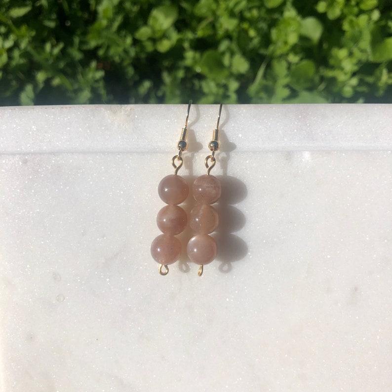 Peach Moonstone Earrings