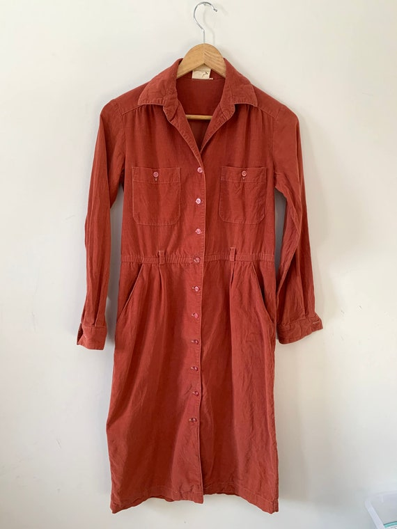 Vintage button up corduroy dress
