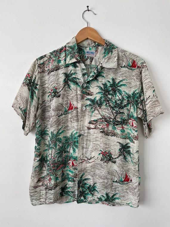 Hand Painted Flowers  Tiki Oasis Hawaii Tropical Vacation Rare Vintage 1960s White Orange Hawaiian Playsuit Romper