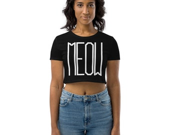 Meow Pixelated Text Style Organic Cat Crop Top