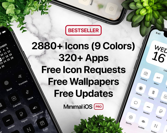 Featured listing image: 2880+ App Icons (9 Colors: White, Black, Pink, etc) - ULTIMATE Icon Pack for Aesthetic iOS 14 Home Screen   Free Icon Requests