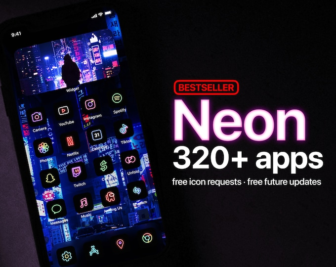 Featured listing image: 320+ Neon App Icons [BESTSELLER] [EXCLUSIVE]   Icon Pack for Cyberpunk Retro iOS Home Screen   Free Icon Requests