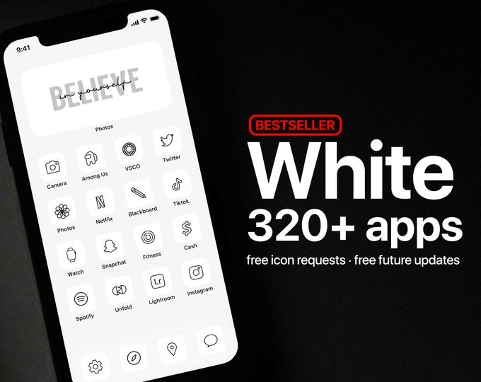 Featured listing image: 320+ White App Icons - PREMIUM - Icon Pack for Aesthetic Light iOS Home Screen   High Quality   Minimal iOS   Free Icon Requests