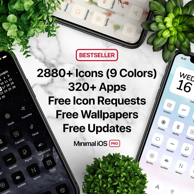 2880 App Icons 9 Colors: White Black Pink etc  ULTIMATE image 0