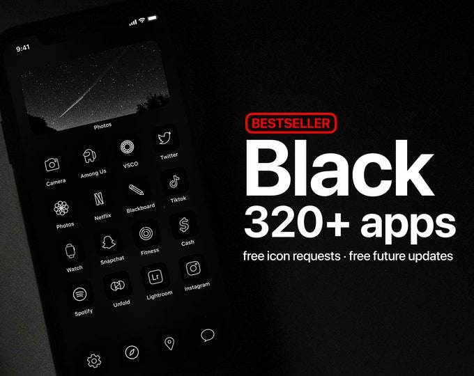 Featured listing image: 320+ Black App Icons - PREMIUM - Icon Pack for Aesthetic Dark iOS Home Screen   Free Icon Requests
