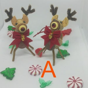 Fun Christmas set of 2 Red Nose Reindeer Wine Cork Ornaments get them for your own tree or for a friend who loves wine and crafty items