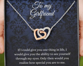 Interlocking Hearts Necklace, To My Girlfriend, Necklace For Girlfriend, Girlfriend Jewelry, Girlfriend Gift, Anniversary Gift For