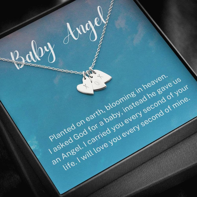 Initials Hearts Necklace Loss of Child Gift Loss of Baby Infant Loss Gift Keepsake, Baby Angel Miscarriage Gift Sympathy Gift