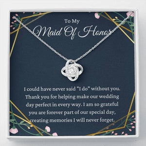 Thank you gift to best friend inseparable rings Maid of Honor Gift Maid of Honor necklace Maid of Honor POEM