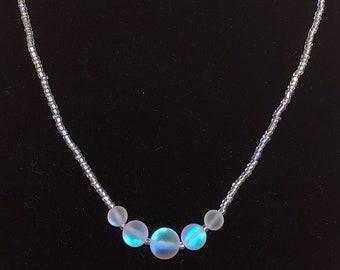 Magic Box Iridescent White Beaded Mermaid Necklace
