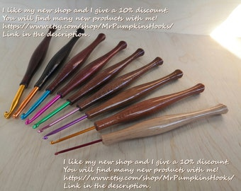 SET of two hornbeam tree rustic one a kind unique crochet hooks  Size M  and K or 9 and 7 mm.