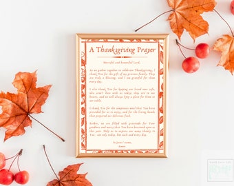 Thanksgiving Prayer Wall Art, Thanksgiving Prayer Download, Digital Prayer Wall Art, Holiday Prayer Wall Art, Thanksgiving Home Décor